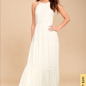 White Embroidered Maxi Dress- Lulus